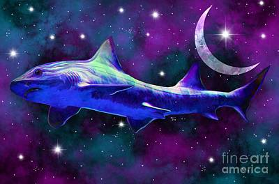 Digital Art - Rainbow Space Shark by Nick Gustafson