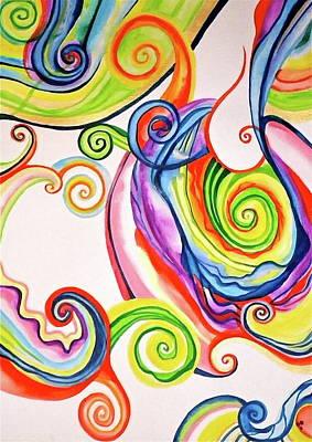 Painting - Rainbow Spirals by Erika Swartzkopf