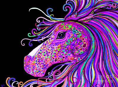 Rainbow Spotted Horse Head 2 Art Print by Nick Gustafson