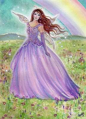 Rainbow Fantasy Art Painting - Rainbow Spring Fairy by Renee Lavoie
