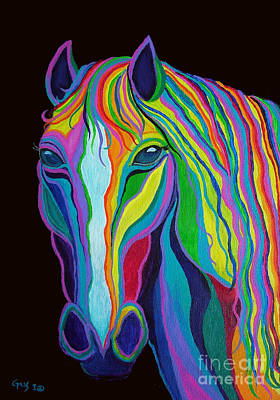 Mustang Painting - Rainbow Stallion by Nick Gustafson