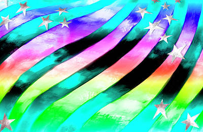 Digital Art - Rainbow Stars And Stripes by Ruth Moratz
