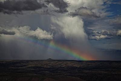 Art Print featuring the photograph Rainbow Storm Over The Verde Valley Arizona by Ron Chilston