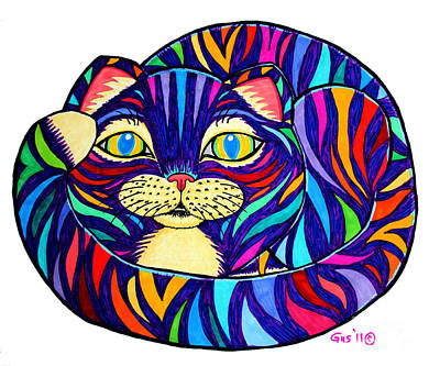 Fun Cats Drawing - Rainbow Striped Cat by Nick Gustafson