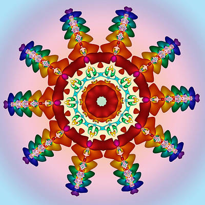 Solar Digital Art - Rainbow Steampunk Sun Fractal by Ruth Moratz