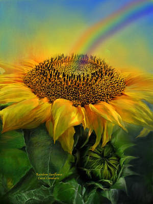 Rainbow Art Mixed Media - Rainbow Sunflower by Carol Cavalaris