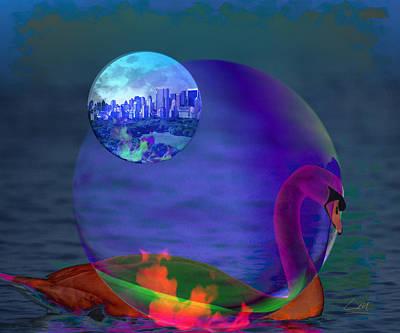 Digital Art - Rainbow Swan by MrLou