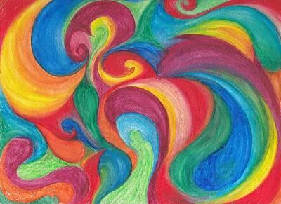 Swirly Drawing - Rainbow Swirl by Saira Scott