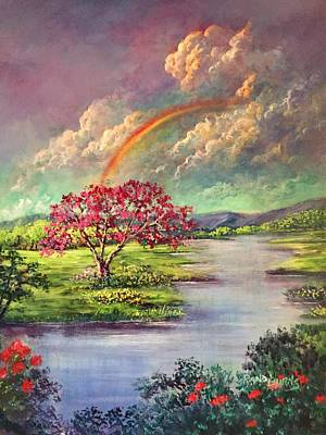 Painting - Rainbow The Promise Of God/ El Arco De Iris La Promesa De Dios by Randy Burns