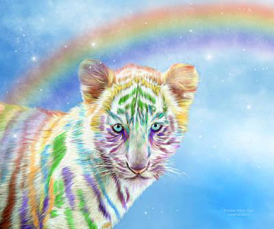 Mixed Media - Rainbow Tiger - Horizontal by Carol Cavalaris