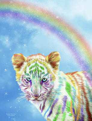 Rainbow Art Mixed Media - Rainbow Tiger - Vertical by Carol Cavalaris