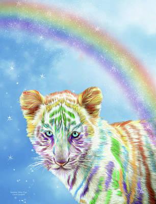 Mixed Media - Rainbow Tiger - Vertical by Carol Cavalaris