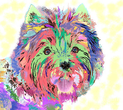 Painting - Rainbow Toto . Colorful Dog by Renee Trenholm