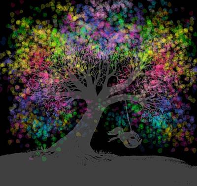 Rainbow Tree Dreams After Dark  Art Print
