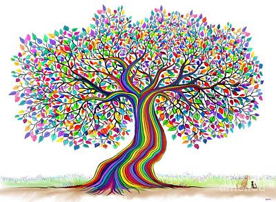 Digital Art - Rainbow Tree Friends  by Nick Gustafson