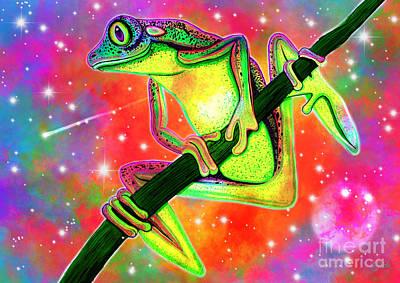 Digital Art - Rainbow Tree Frog by Nick Gustafson