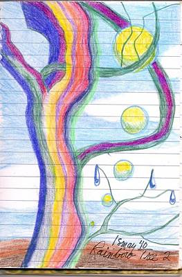 Drawing - Rainbow Tree Revisited by Rod Ismay