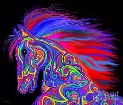 Digital Art - Rainbow Tribal Stallion by Nick Gustafson