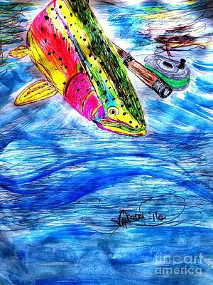 Trout Stream Drawing - Rainbow Trout Fly Fishing by Scott D Van Osdol