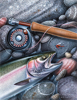 Painting - Rainbow Trout by JQ Licensing