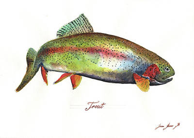 Rainbow Wall Art - Painting - Rainbow Trout by Juan Bosco