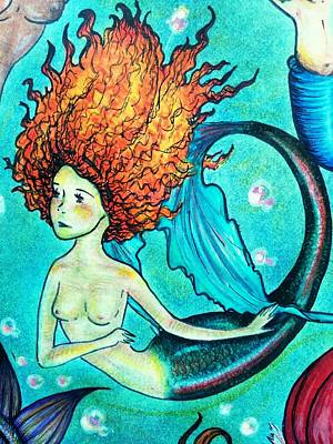 Rainbow Trout Mermaid Art Print by Summer Porter