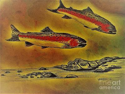 Rainbow Trout Scene - Aged Abstract Original by Scott D Van Osdol