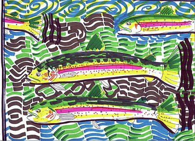 Brook Trout Image Painting - Rainbow Trout School by Robert Wolverton Jr