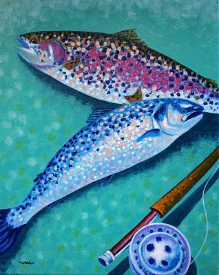 Salmon Fishing Painting - Rainbow Trout With Grilse by John  Nolan