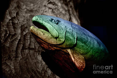 Photograph - Rainbow Trout Wood Sculpture by John Stephens