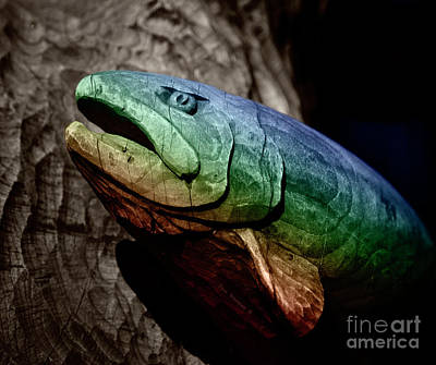 Rainbow Trout Wood Sculpture Square Art Print by John Stephens
