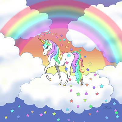 Rainbow Unicorn Clouds And Stars Original by Crista Forest