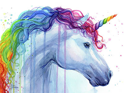 Rainbow Wall Art - Painting - Rainbow Unicorn Watercolor by Olga Shvartsur