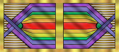 Art Print featuring the digital art Rainbow Wall Hanging Horizontal by Chuck Staley