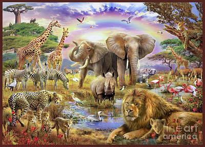 Elephants Digital Art - Rainbow Waterhole by Jan Patrik Krasny