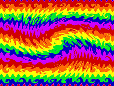 Digital Art - Rainbow Waves #855 by Brian Gryphon