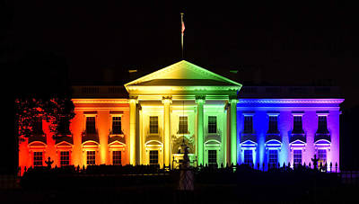 Rights Photograph - Rainbow White House  - Washington Dc by Brendan Reals