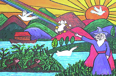 Primitive Drawing - Rainbow Wizardry by Monica Engeler