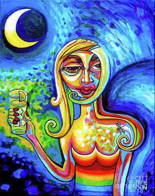 Painting - Rainbow Woman With A Crescent Moon by Genevieve Esson