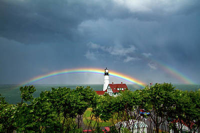 Photograph - Rainbow X 2 At Portland Headlight by Darryl Hendricks