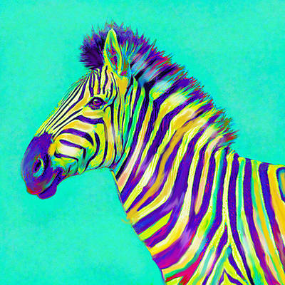 Digital Art - Rainbow Zebra 2013 by Jane Schnetlage