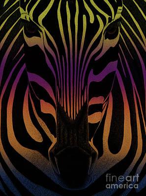 African Gray Painting - Rainbow Zebra by Gull G
