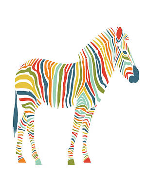 Horse Art Mixed Media - Rainbow Zebra by Nicole Wilson