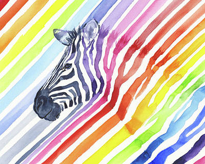 Zebra Art Painting - Rainbow Zebra Pattern by Olga Shvartsur
