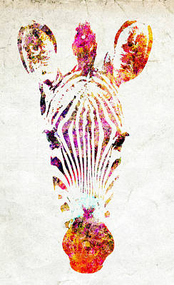 Watercolor Pet Portraits Mixed Media - Rainbow Zebra by Stacey Chiew
