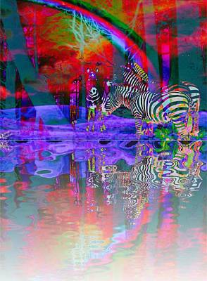 Digital Art - Rainbow Zebras At Sunset by Diana Riukas