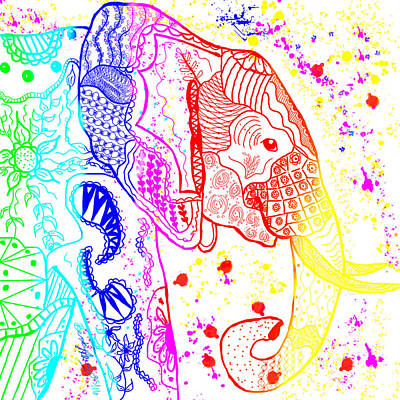 Painting - Rainbow Zentangle Elephant by Becky Herrera