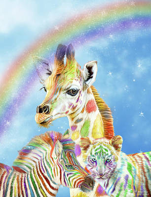 Rainbow Art Mixed Media - Rainbow Zoo by Carol Cavalaris