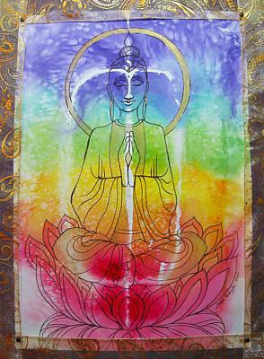 Chakra Rainbow Mixed Media - Rainbowbuddha by Joan Doyle
