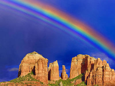Cathedral Rock Painting - Rainbow Over Cathedral Rock Sedona by Dominic Piperata
